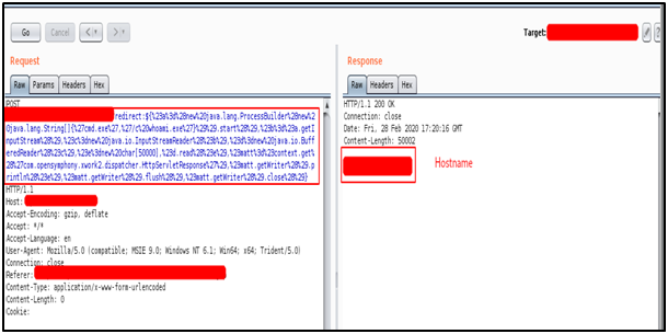 Payload resulted with the hostname