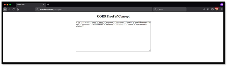 Misconfigured CORS result