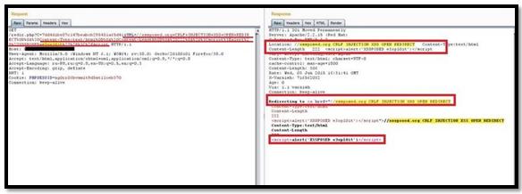 Redirection and javascript execution