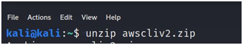 Unzip the aws cli