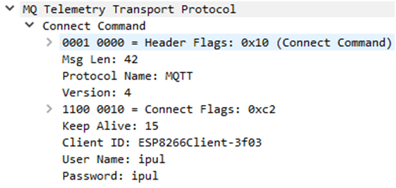 Plaintext credentials from the unencrypted MQTT protocol.