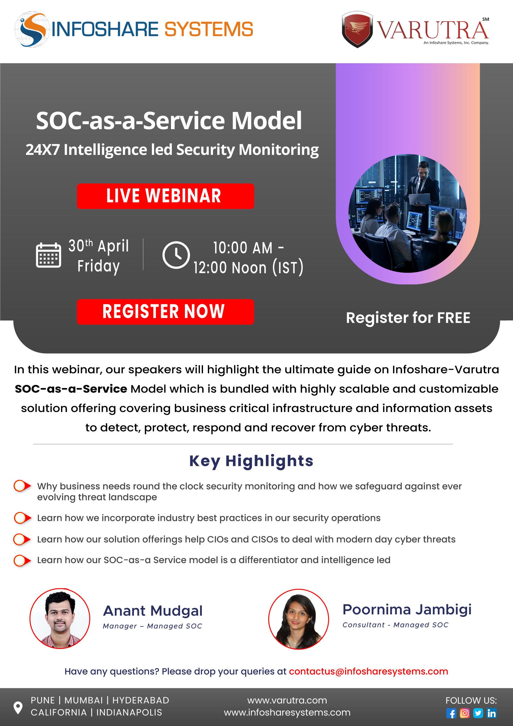 Webinar - SOC-as-a-Service Model: 24X7 Intelligence led Security Monitoring